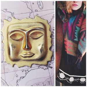Vintage Gold Aztec Style Face Brooch